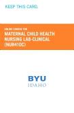 Maternal Child Health Nursing Lab-Clinical Retail Card (NUR410C RC)