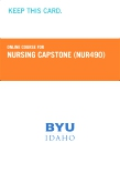 Nursing Capstone Retail Card (NUR490RC)
