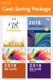cover image - 2019 ICD-10-CM Hospital Edition, 2019 ICD-10-PCS Edition, 2018 HCPCS Professional Edition and AMA 2018 CPT Professional Edition Package