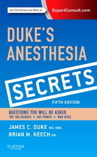 cover image - Duke's Anesthesia Secrets,5th Edition