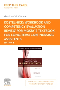 cover image - Workbook and Competency Evaluation Review for Mosby's Textbook for Long-Term Care Nursing Assistants - Elsevier eBook on VitalSource (Retail Access Card),8th Edition