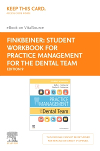 cover image - Student Workbook for Practice Management for the Dental Team Elsevier eBook on VitalSource (Retail Access Card),9th Edition