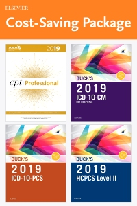 cover image - 2019 ICD-10-CM Hospital Edition, 2019 ICD-10-PCS Edition, 2019 HCPCS Professional Edition and AMA 2019 CPT Professional Edition Package