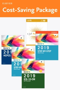 cover image - Step-by-Step Medical Coding 2019 Edition - Text, Workbook, 2019 ICD-10-CM for Physicians Edition, 2019 HCPCS Professional Edition and AMA 2019 CPT Professional Edition Package