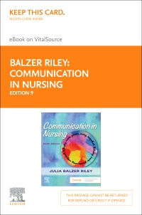 cover image - Communication in Nursing - Elsevier eBook on VitalSource (Retail Access Card),9th Edition
