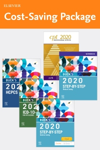 cover image - Step-by-Step Medical Coding 2020 Edition - Text, Workbook, 2020 ICD-10-CM for Physicians Edition, 2020 HCPCS Professional Edition and AMA 2020 CPT Professional Edition Package