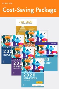 cover image - Step-by-Step Medical Coding 2020 Edition - Text, Workbook, 2020 ICD-10-CM for Hospitals Edition, 2020 ICD-10-PCS Edition, 2020 HCPCS Professional Edition and AMA 2020 CPT Professional Edition Package