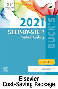 cover image - 2021 Step by Step Medical Coding Textbook, 2021 Workbook for Step by Step Medical Coding Textbook, Buck's 2021 ICD-10-CM Hospital Edition, Buck's 2021 ICD-10-PCS, 2021 HCPCS Professional Edition, AMA 2021 CPT Professional Edition Package