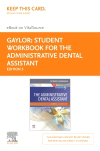 cover image - Student Workbook for The Administrative Dental Assistant Elsevier eBook on VitalSource (Retail Access Card),5th Edition