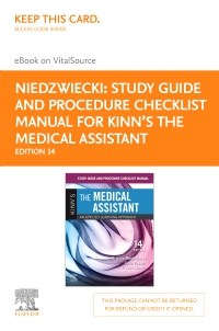 cover image - Study Guide and Procedure Checklist Manual for Kinn's The Medical Assistant - Elsevier E-Book on VitalSource (Retail Access Card),14th Edition