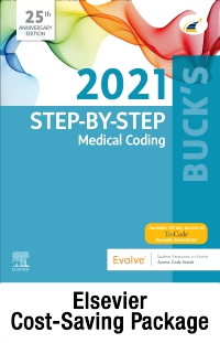 cover image - Buck's Step-by-Step Medical Coding, 2021 Edition – Text and Workbook Package