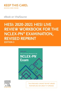 cover image - 2020-2021 HESI Live Review Workbook for the NCLEX-PN Examination, Revised Reprint - Elsevier eBook on VitalSource (Retail Access Card),3rd Edition