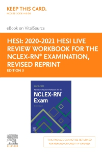 cover image - 2020-2021 HESI Live Review Workbook for the NCLEX-RN Examination, Revised Reprint - Elsevier eBook on VitalSource (Retail Access Card),3rd Edition